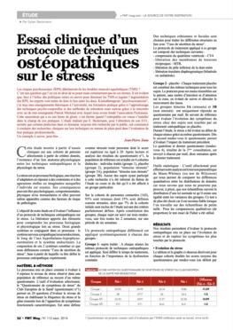 Essai clinique d'un protocole de techniques ostéopathiques sur le stress